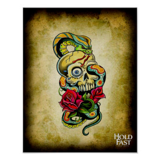 Skull Snake Roses Print