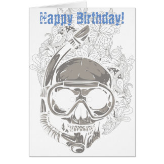 Skull Snorkeling, Scuba Diver Happy Birthday Card