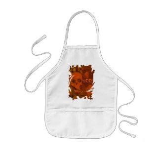 Skull Spectres Orange 'Boo!' swirl apron