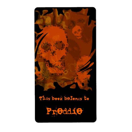 Skull Spectres Orange swirl bookplate label