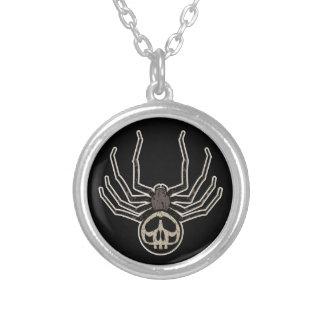 Skull Spider Round Pendant Necklace