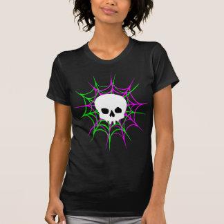 Skull & Spiderwebs (Black Pink Green) Tshirt