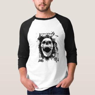 Skull Splatter Basic 3/4 Sleeve Raglan in Black/Wh T-shirt