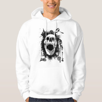 Skull Splatter Hoodie in white