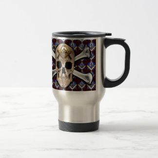 Skull Square & Compass Dark Red Stainless Steel Travel Mug