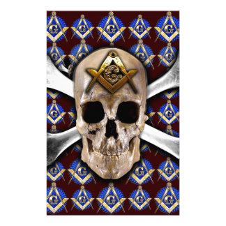 Skull Square & Compass Dark Red Stationery Paper