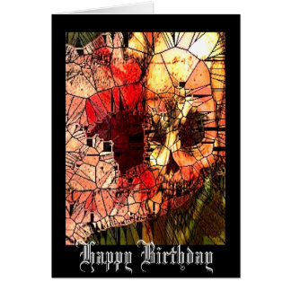 Skull Stained Glass Birthday Card
