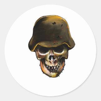 Skull Stalhelm Round Sticker