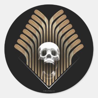 Skull & Sticks (Hockey) Round Sticker