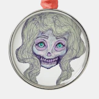 skull sugar pastel -her26- Silver-Colored round decoration