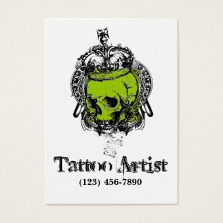 Skull Tattoo Artist Business Card Black Green