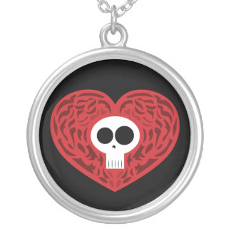 Skull Tattoo Heart Silver Plated Necklace