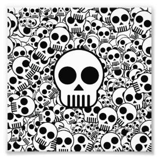 Skull Texture Black White Surface Photo Art