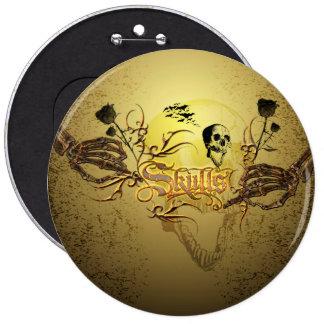 Skull the word 6 cm round badge