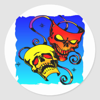 Skull Theater Masks Comedy and Tragedy Classic Round Sticker