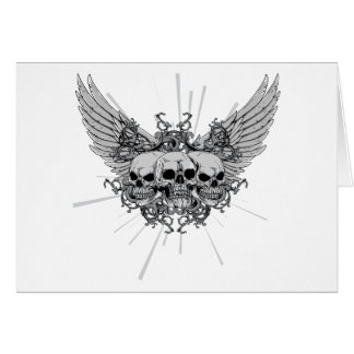 Skull Three Skulls Wings Winged Greeting Card