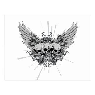 Skull ~ Three Skulls Wings Winged Postcard