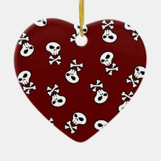 skull tile ceramic heart decoration