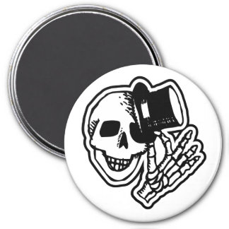 Skull Top Hat Gentleman B&W 7.5 Cm Round Magnet