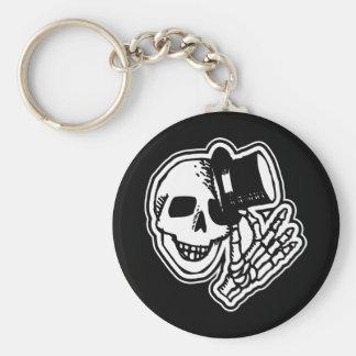 Skull Top Hat Gentleman B&W Basic Round Button Key Ring