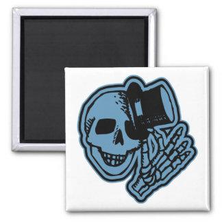 Skull Top Hat Gentleman Blue Square Magnet