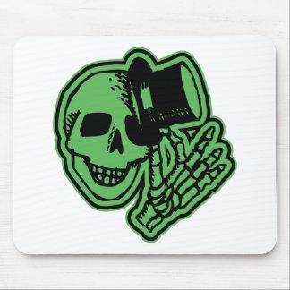 Skull Top Hat Gentleman Green Mouse Pad
