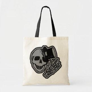 Skull Top Hat Gentleman Grey Canvas Bags
