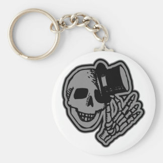 Skull Top Hat Gentleman Grey Basic Round Button Key Ring