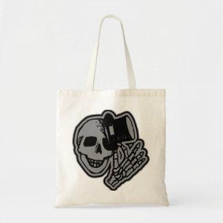 Skull Top Hat Gentleman Grey Budget Tote Bag