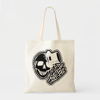 Skull Top Hat Gentleman Negative B&W Budget Tote Bag