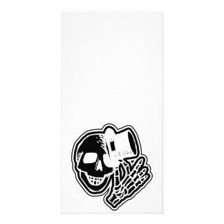 Skull Top Hat Gentleman Negative B&W Picture Card