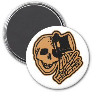 Skull Top Hat Gentleman Orange 7.5 Cm Round Magnet