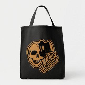 Skull Top Hat Gentleman Orange Canvas Bag