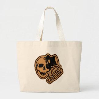 Skull Top Hat Gentleman Orange Jumbo Tote Bag