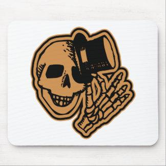 Skull Top Hat Gentleman Orange Mousepad