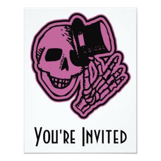 Skull Top Hat Gentleman Pink 11 Cm X 14 Cm Invitation Card