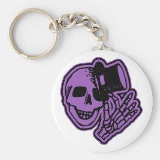 Skull Top Hat Gentleman Purple Basic Round Button Key Ring