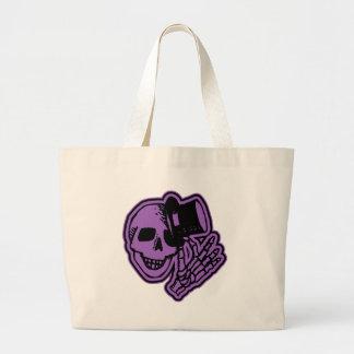 Skull Top Hat Gentleman Purple Jumbo Tote Bag