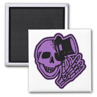 Skull Top Hat Gentleman Purple Square Magnet