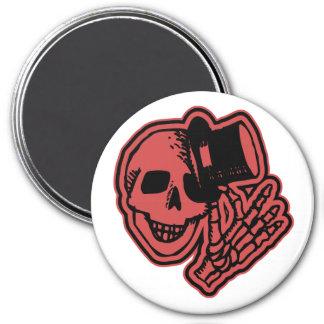 Skull Top Hat Gentleman Red 7.5 Cm Round Magnet