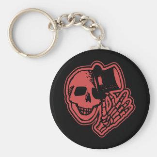 Skull Top Hat Gentleman Red Basic Round Button Key Ring
