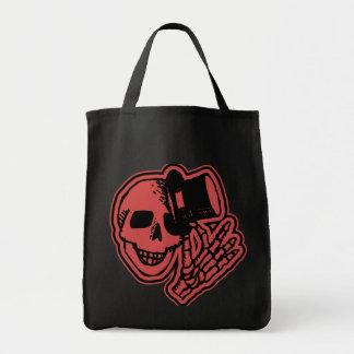 Skull Top Hat Gentleman Red Grocery Tote Bag
