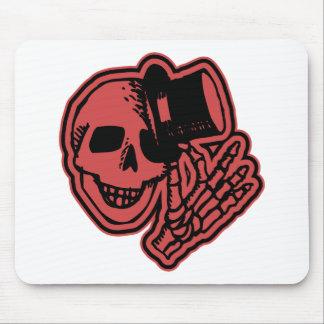 Skull Top Hat Gentleman Red Mousepads