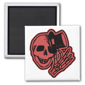 Skull Top Hat Gentleman Red Square Magnet
