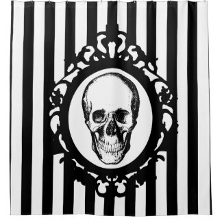 Skull Victorian Cameo Black & White Stripes Print Shower Curtain