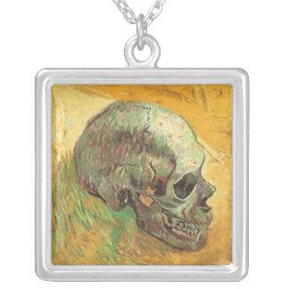 Skull, Vincent van Gogh, Vintage Impressionism Art Personalized Necklace