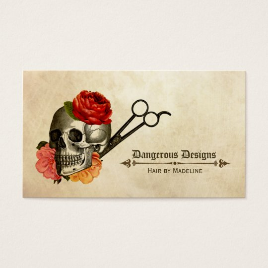 skull vintage floral hairstylist hair stylist business card
