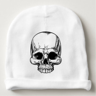 Skull Vintage Retro Woodcut Etched Engraved Style Baby Beanie