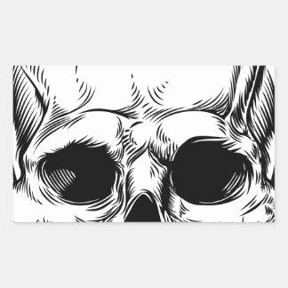 Skull Vintage Retro Woodcut Etched Engraved Style Rectangular Sticker