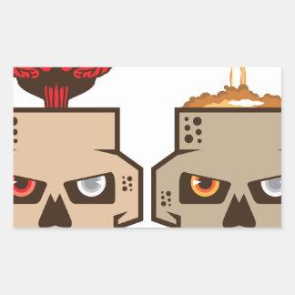 Skull w brain n nuclear blast rectangular sticker